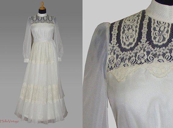 Designer 60s vintage wedding dress, 1960s bridal gown, Lace on Etsy, $448.30
