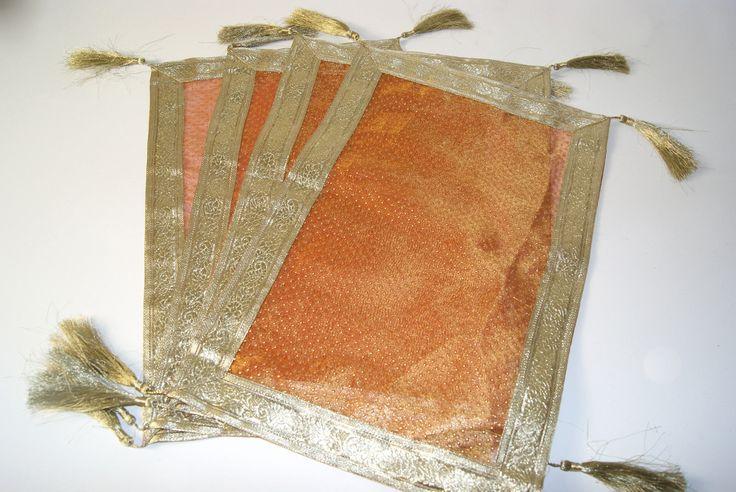 6 Rust Orange Placemats Tasseled Table Mats