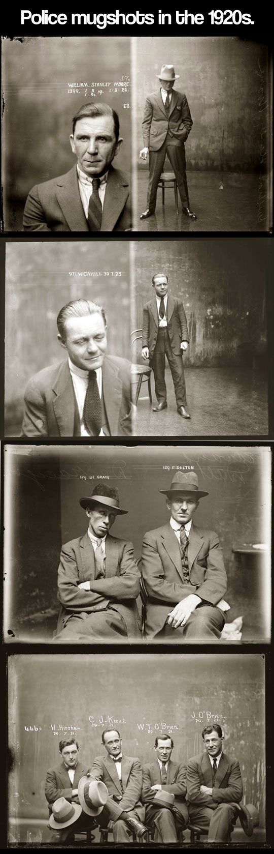 Police mugshots from the 1920s. I wish the criminals were still like this.