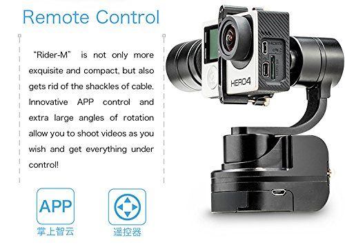 Zhiyun Rider-M Wearable 3 Axis Brussless Gopro Camera Gimbal Stablizer for Gopro Hero 3, Hero 3+,Hero 4 Support APP Remote Control Upgraded Version of Zhiyun Z1-Rider2
