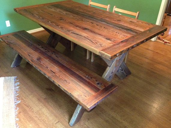 Cross leg table and bench made from reclaimed barn wood, by RestoringTexas, $2000.00