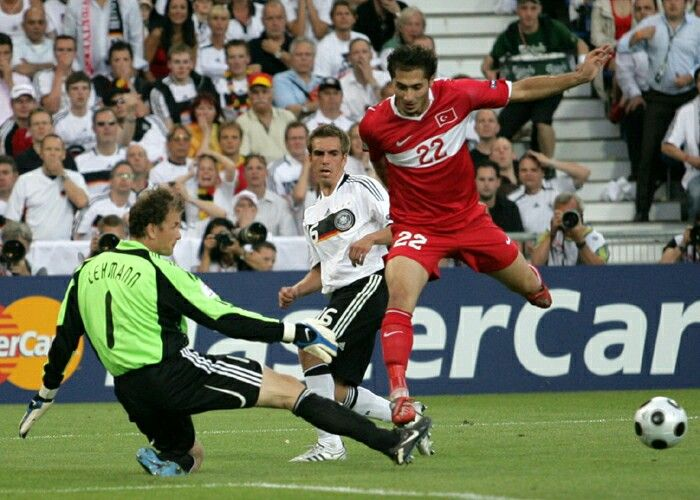 Germany 3 Turkey 2 in 2008 in Basel. Jens Lehmann makes a good interception tackle on Hamit Altintop in the Semi Final of Euro 2008.
