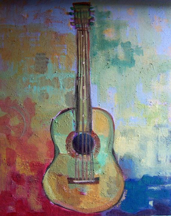 "Original Painting - ""The Color of Music"" Abstract Guitar"