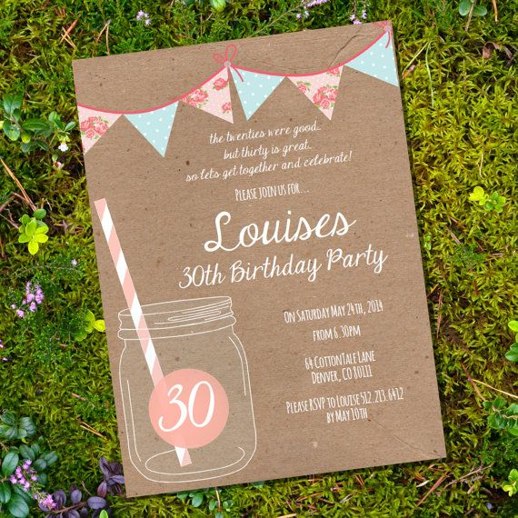 Shabby Chic Mason Jar Birthday Invitation 30th von SunshineParties