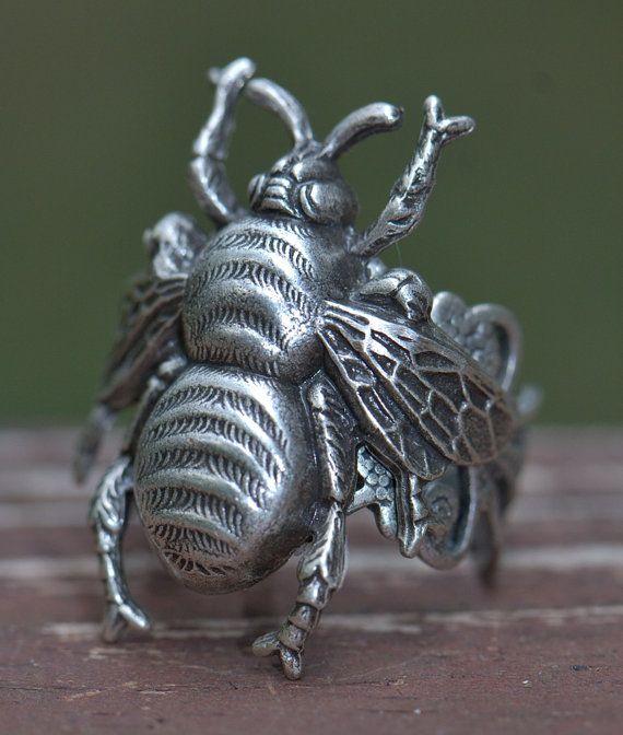 BEE Ring Silver Adjustable. Honey Entomology by RADgiftsAndJewelry, $21.00