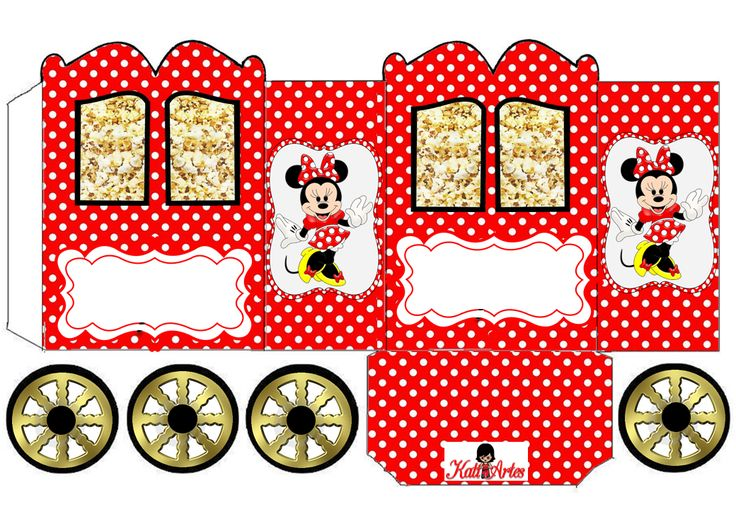 Minnie in Red: Princess Carriage Shaped Free Printable Box.