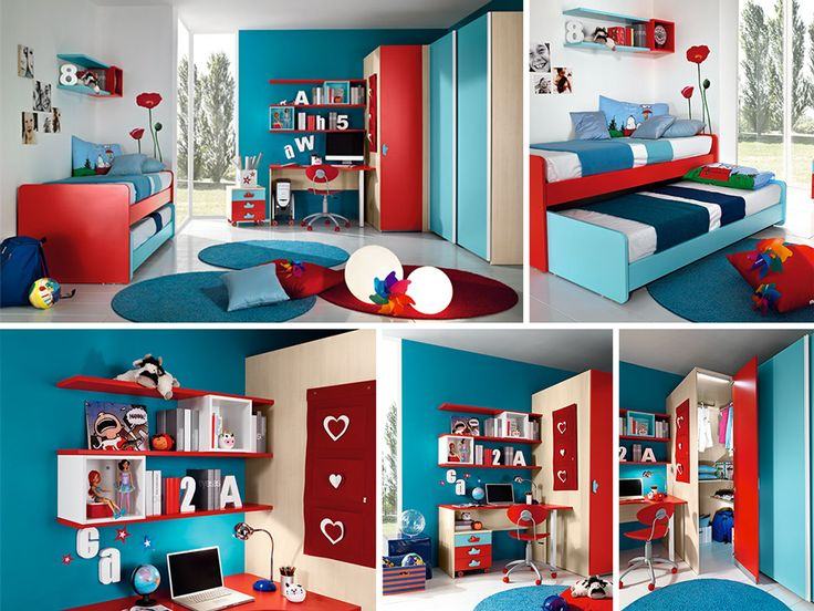Cameretta rossa e azzurra con secondo letto a scomparsa, composta da ...