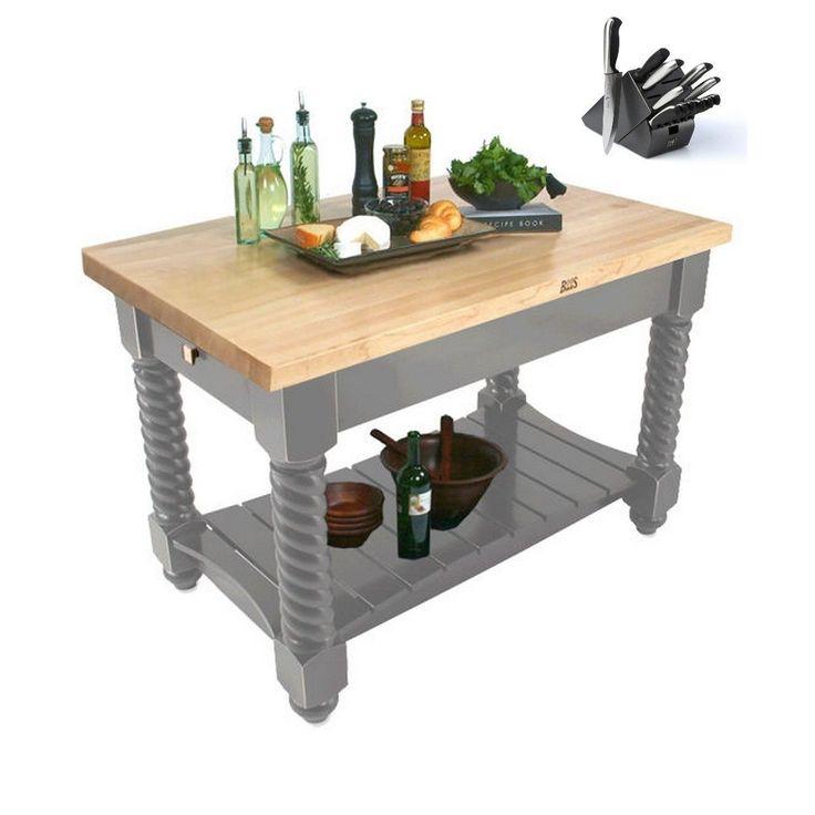 john boos 54x32 tuscan isle boos butcher block table tusi5432sg with 13piece