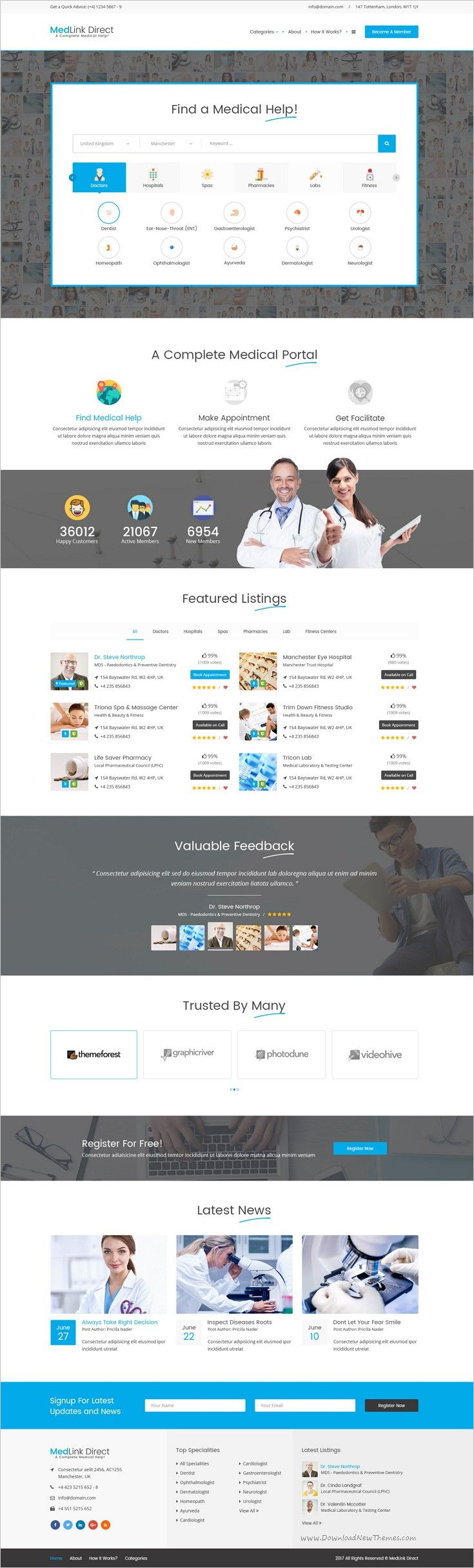 Medlink derect directory is a wonderful #PSD template for complete #medical #directory #listing websites download now➩ https://themeforest.net/item/doctor-directory-psd-template/18910613?ref=Datasata