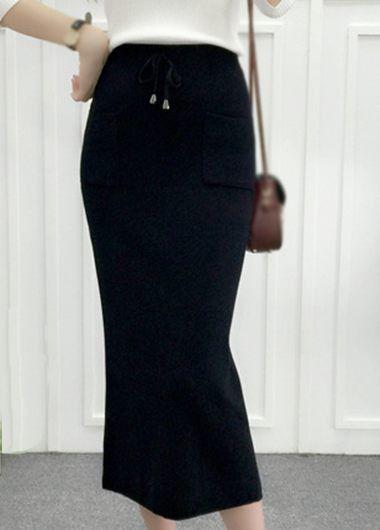 Drawstring Waist Pocket Design Black Skirt  on sale only US$22.92 now, buy cheap Drawstring Waist Pocket Design Black Skirt  at lulugal.com