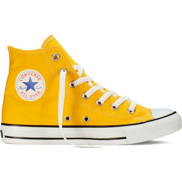 Converse Chuck Taylor All Star Fresh Colors – lemon chrome Sneakers ($55) ❤ liked on Polyvore featuring shoes, sneakers, converse, lullabies, lemon chrome, converse high tops, converse sneakers, hi tops, converse footwear and rubber sole shoes