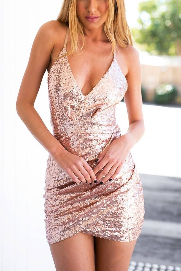 Sequin Dress with Cut Out Back -YOINS