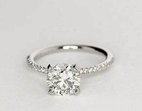 1.52 Carat Diamond Petite Micropavé Diamond Engagement Ring | Recently Purchased | Blue Nile. Perfect.