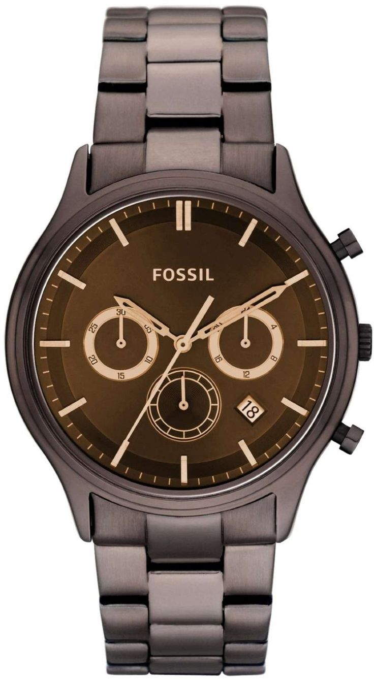 Fossil FS4670 Ansel Stainless Steel Watch - Brown < $105.72 > Fossil Watch Men
