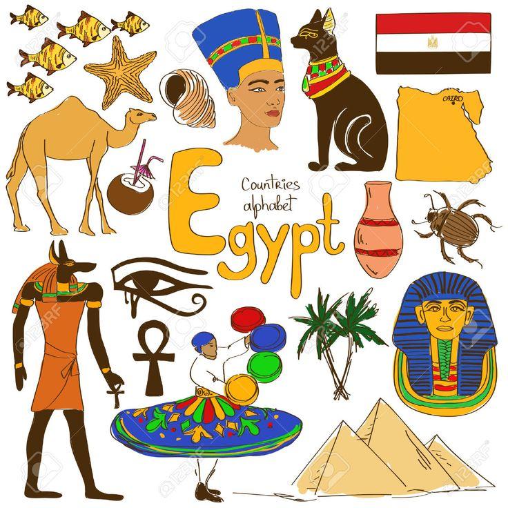 Fun Bộ Sưu Tập Ký Họa đầy Màu Sắc Của Biểu Tượng Ai Cập, Các Nước Bảng Chữ Cái Cliparts, Vector, Và Stock Hình ảnh Minh Họa Miễn Phí Bản Quyền. Image 32039499.