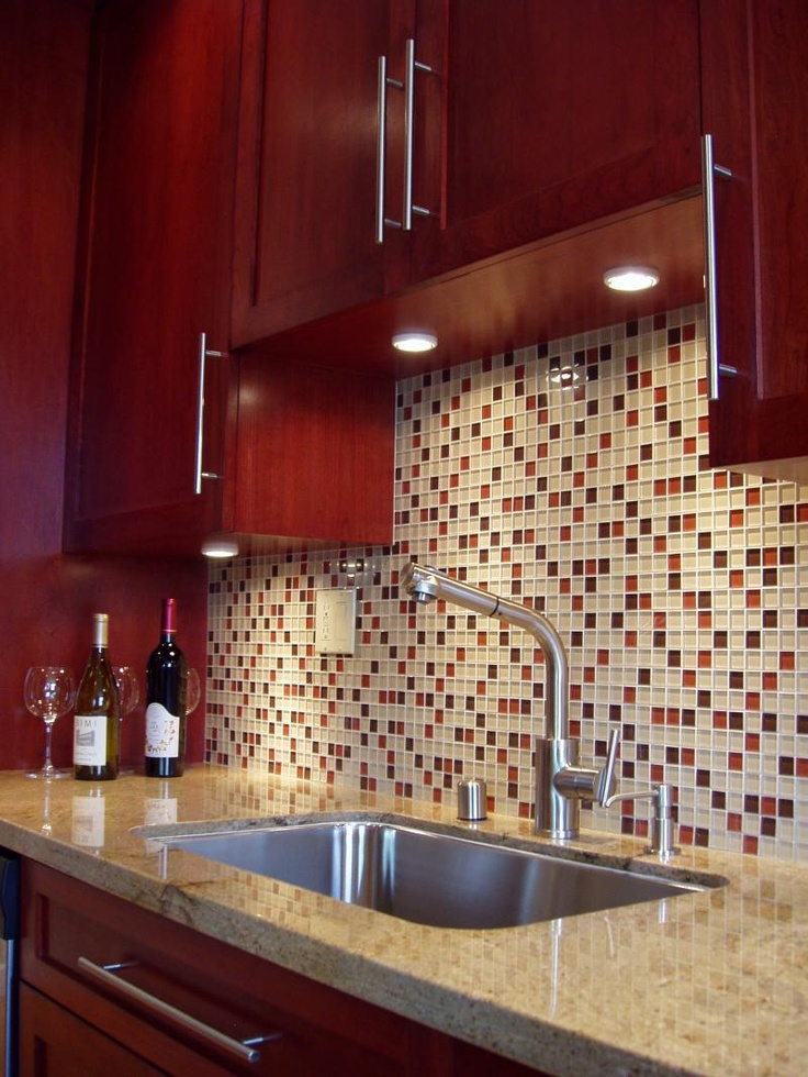 Cherry maybe darker than cherry?  nice backsplash maybe more color less white - SHAKER STYLE
