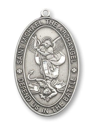Saint Michael Pewter Medal | Oval 1 Inch on 24 Inch Stainless Steel Chain