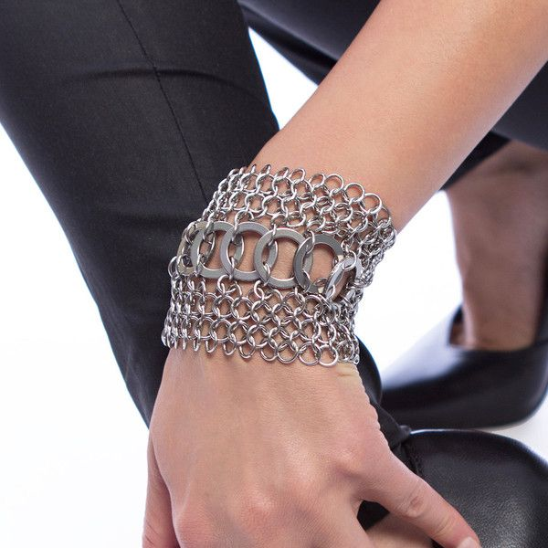 Rapt In Maille | Handmade Chainmaille Jewelry by Melissa Banks | Stainless Steel | Chicago — METAL Wide Flat Link Stripe Cuff Bracelet