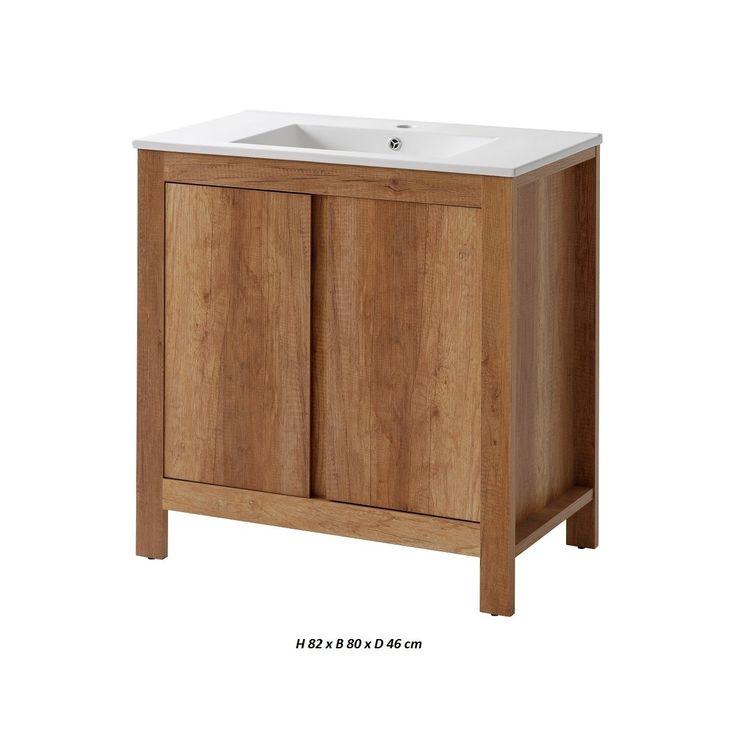 Sanifun badkamermeubel Classic Oak 80-1. onderkast met wastafel bestellen bij de goedkoopste online sanitairwinkel
