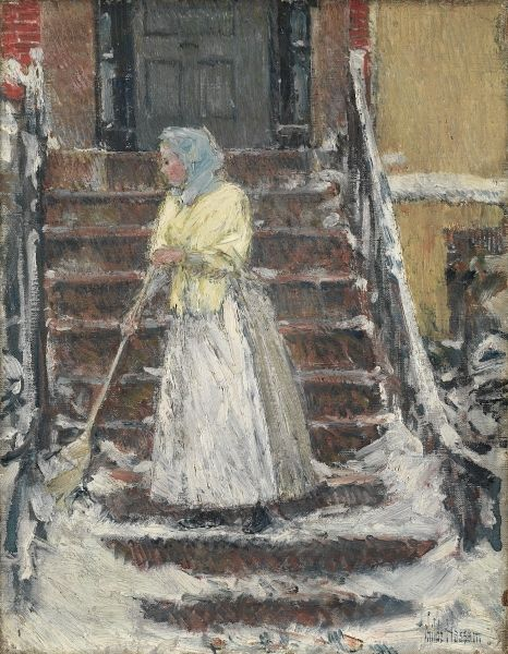 Childe Hassam, Frederick (1859-1935) Sweeping Snow Date: ca. 1890