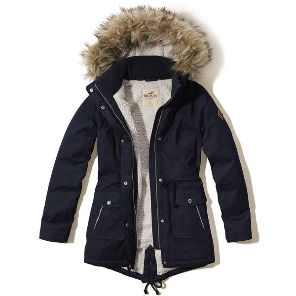 Hollister Heritage Sherpa Lined Parka ($140) ❤ liked on Polyvore featuring outerwear, coats, navy, blue parka, blue parka coat, zip coat, fur-lined parkas and parka coats