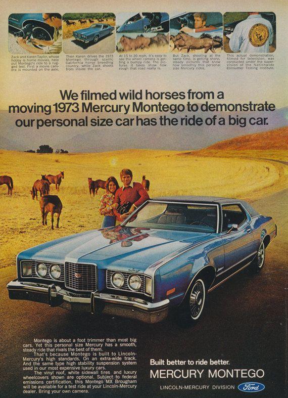 1973 Ford Mercury Montego Car Ad Wild Horses Vintage Automobile Photo…