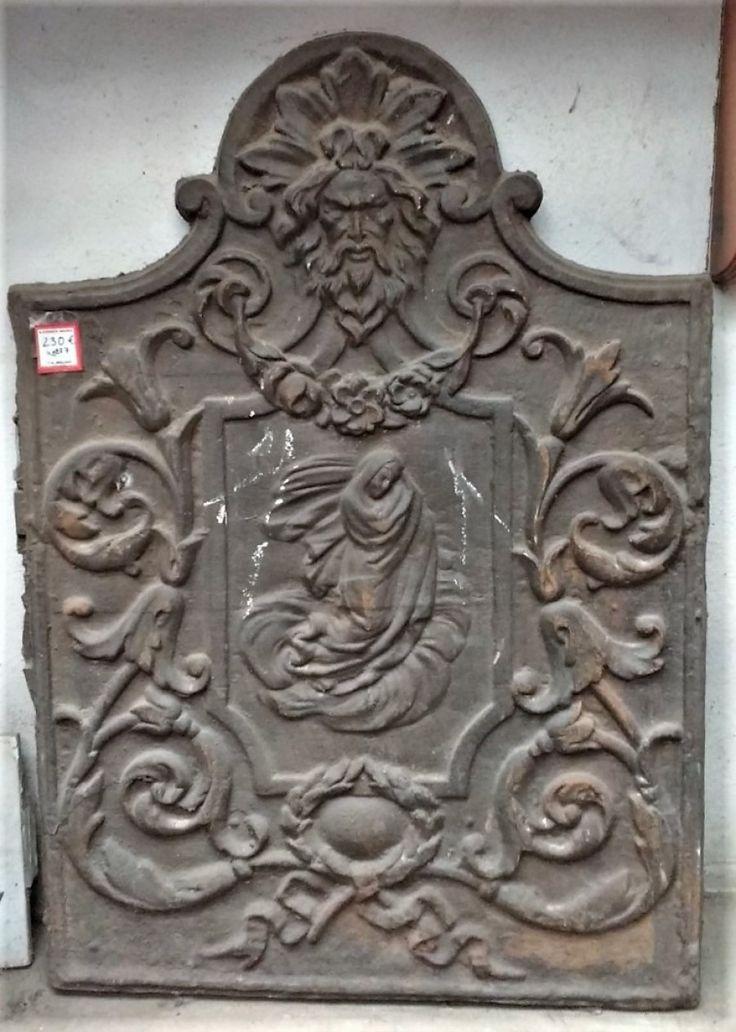 placa reflectora de chimenea antigua antigua plancha o chapa de hierro de fundicin