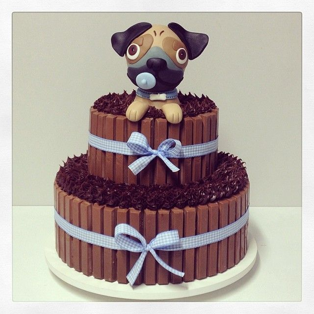 """[Source: Instagram ]@atelieliajordao's photo: """"E agora o bolo que acabou de ficar pronto! ❤️ #cake #festacachorrinho #cachorrinho #pug #partydecor #party #instaparty #instasugar #instacake #cakedecor #kitkat #kitkatcake #bolo #bolodecorado #chadebebe #cachorrinho #cakedesign #littledogparty #dog #bolokitkat #babyshower #babyparty #kidsparty #liajordao"""""""
