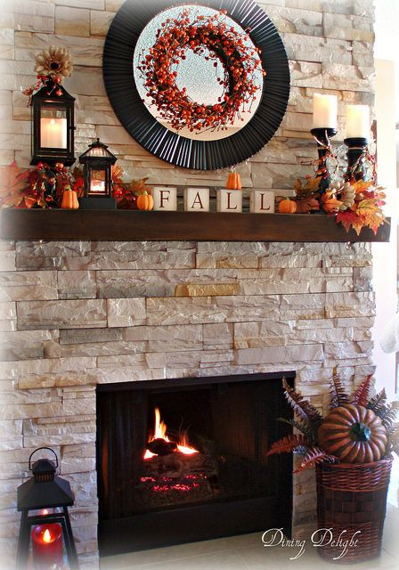 fall mantel from dining delight - I love the wreath on the round mirror!