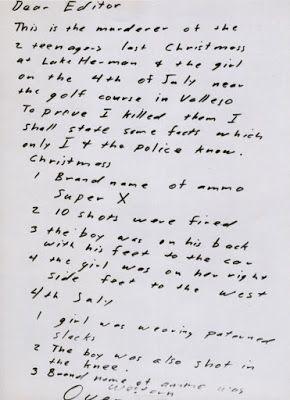 Zodiac Killer, First Letter