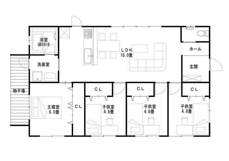 木造住宅建売 コートハウス設計施工 ライフ・ストレージ・マネジメント株式会社:平屋25坪間取り