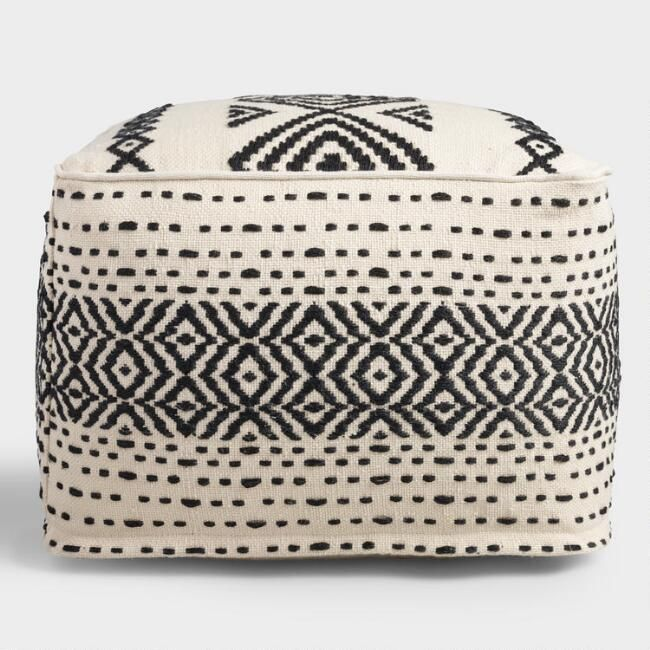 Black And White Kilim Indoor Outdoor Pouf V2 Outdoor Pouf