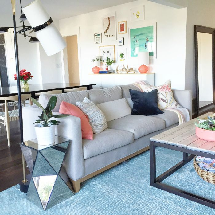 House goals relaxed and colorful living room crate and barrel taraval sofa riston floor lamp for Crate and barrel living room