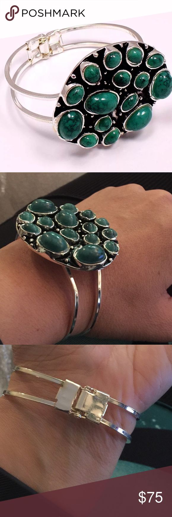 Sterling plated statement bracelet NWT green Silver plated green turquoise hinged bracelet NWT Violette Studios Jewelry Bracelets