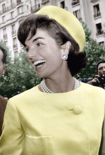 Jackie Kennedy wearing Oleg Cassini & a pillbox hat by Halston