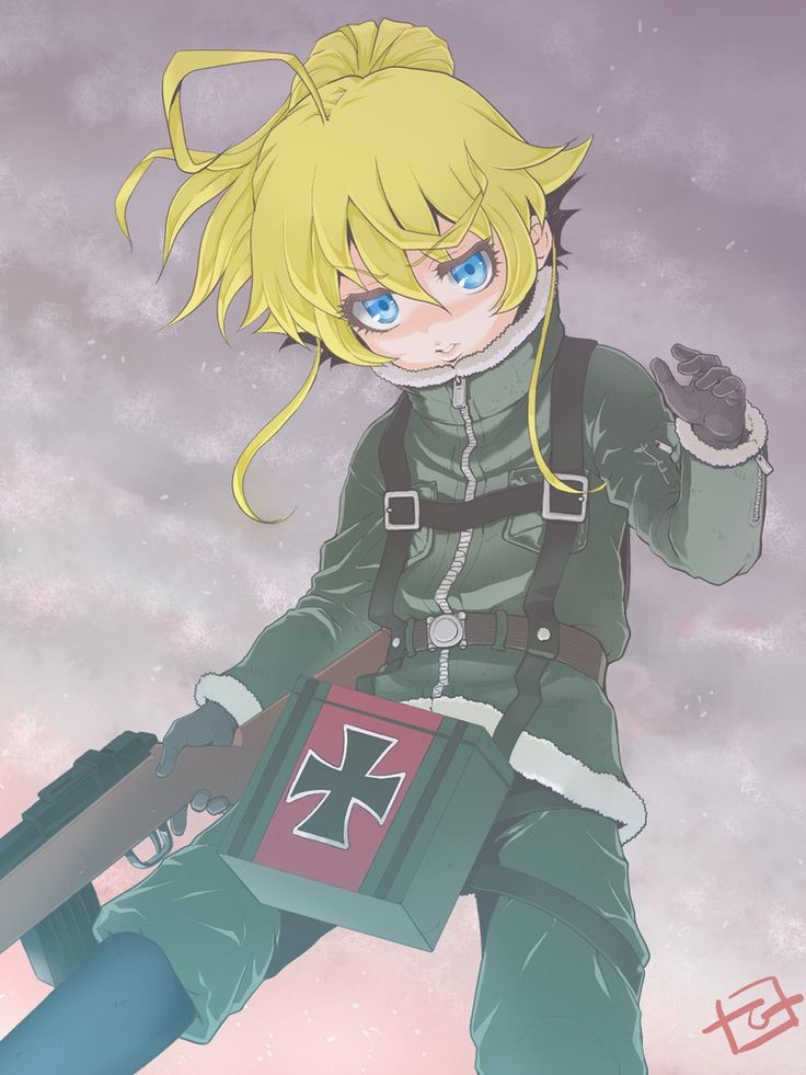 youjo senki tanya degurechaff hiroshi ohnuma high resolution 1girl ahoge bangs belt blonde blue eyes boots female flying fur trim gloves gun hair between eyes holding holding rifle holding weapon loli looking at viewer machinery military military uniform ponytail rifle short hair sky solo tied hair uniform weapon