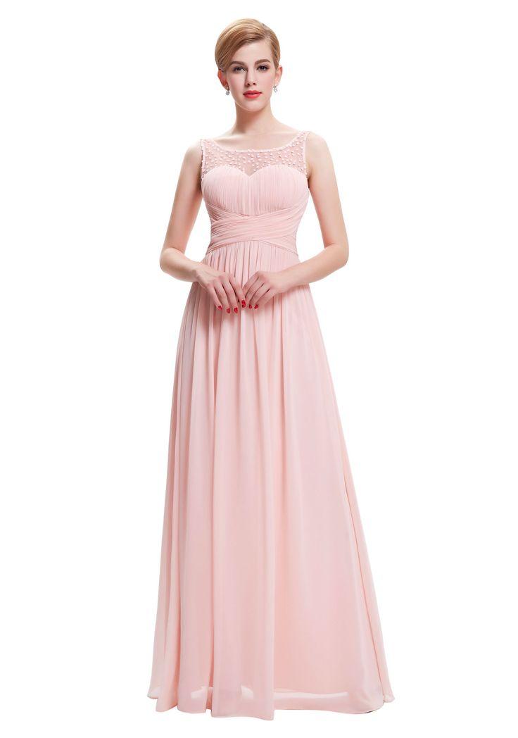 Langes Träger-Abendkleid in Rosa