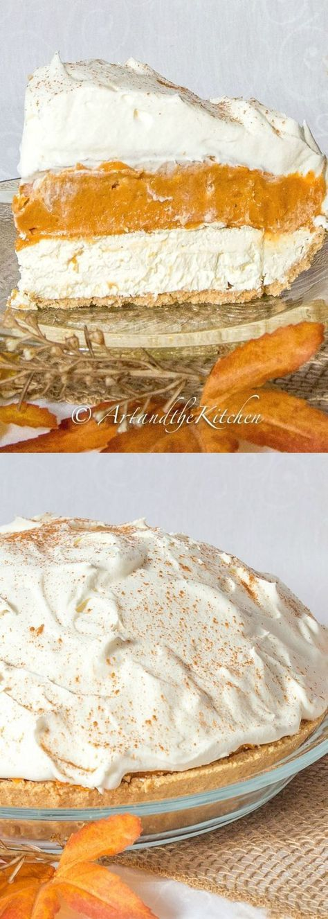 A No Bake Pumpkin Pie with a delicious cream cheese layer, topped with a pudding pumpkin layer, then a final layer of whipped cream. My all-time favorite pumpkin pie recipe!