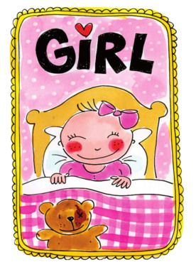 Een slapend babymeisje met teddybeer- Greetz