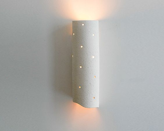Long ceramic wall light fixture - natural clay wall lamp with a tube shape - OOAK by hamutalbenjoceramics on Etsy https://www.etsy.com/listing/167318196/long-ceramic-wall-light-fixture-natural: