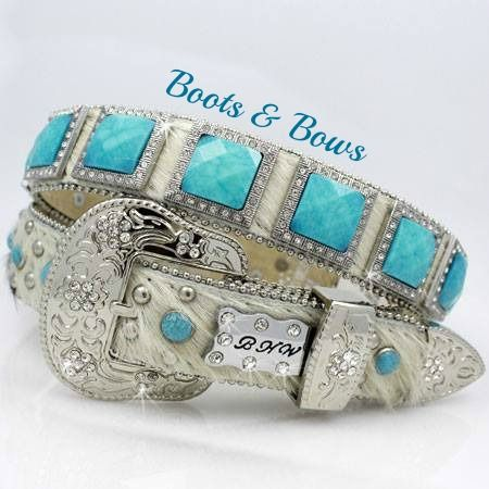 $65.00 at http://www.bootsandbows.net/store/p82/Turquoise_Hide_Belt.html #cowgirlbling #rodeostyle #turquoise #statmentaccessories #belts