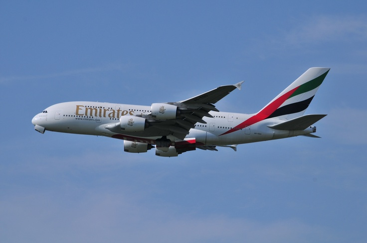 Emirates Airbus A380 take off @ Schiphol Airport
