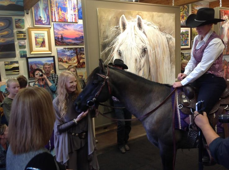 "Dawn MacRae of D-Bar-K Ranch in Oliver BC brought her horse Smokin Lynx Olena right into the Art Gallery for the opening of my solo Show ""Is That a Horse in the Gallery?""  at The Lloyd Gallery, in Penticton BC"