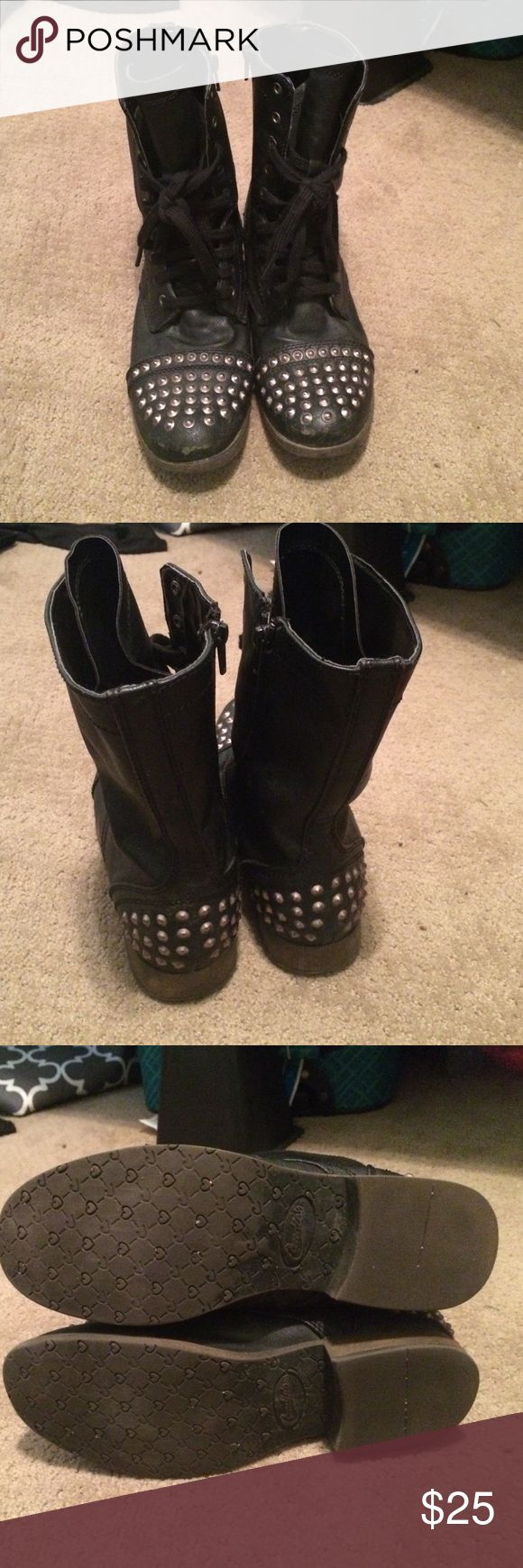 Black studded combat boots! Size 8 Super cute to look a little edgy!! Lots of life left in them! Candie's Shoes Combat & Moto Boots