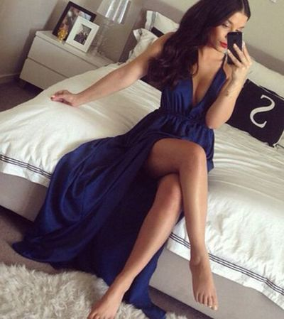 Charming Evening Dress,Long Evening Gown, High Slit Prom Dress,Sexy Prom Dresses