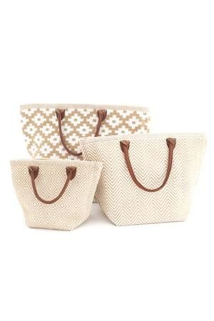 #DashAndAlbert Fresh American Le Tote Wheat/White Tote Bag Moyen