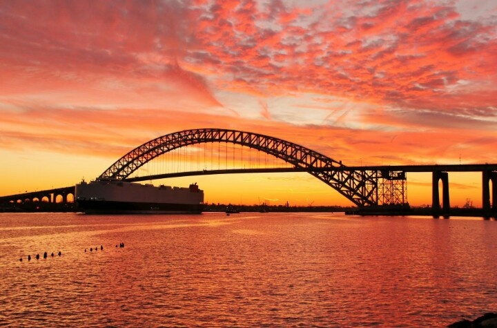 Sunset by the Bayonne Bridge. Photo by Susan Hill. Beautiful...