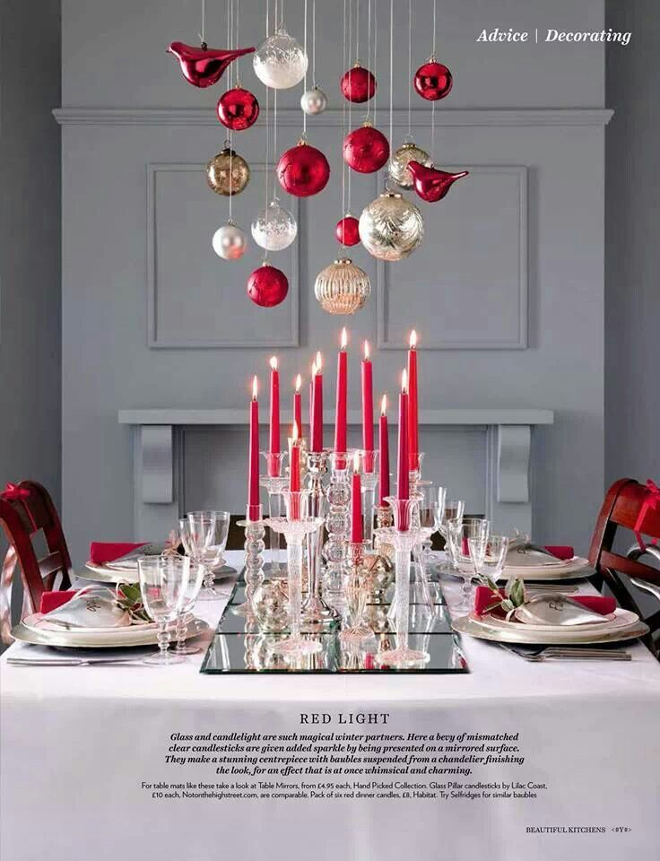 Christmas centerpiece idea. Love the hanging ornaments