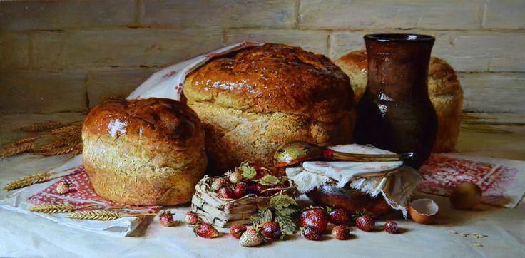 Russian Master: Nikolaev Yury http://www.russianfineart.com/catalog/prod.php?productid=24778 Bread And Strawberry - oil, canvas
