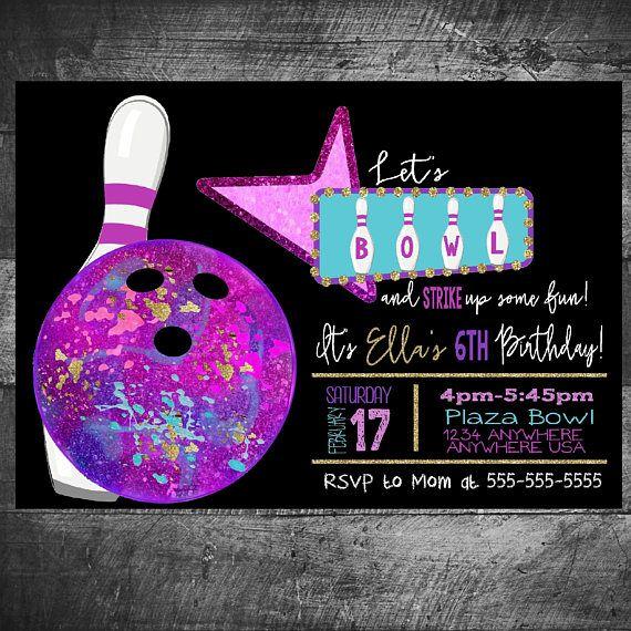 Neon Glow Bowling Birthday Invitation Bowling Invitation Etsy Bowling Invitations Bowling Birthday Party Bowling Party Invitations